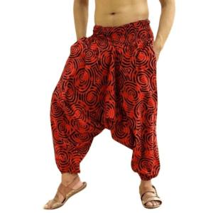 Pantalon ethnique ample rouge boho
