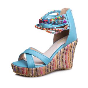 Sandale ethnique bleu ciel boheme