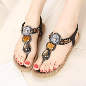 Sandale ethnique pierre noir chic