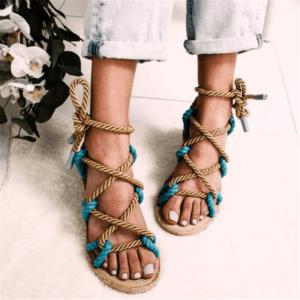 Sandale ethnique lacet turquoise chic