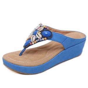 Sandale ethnique perlée bleu boheme