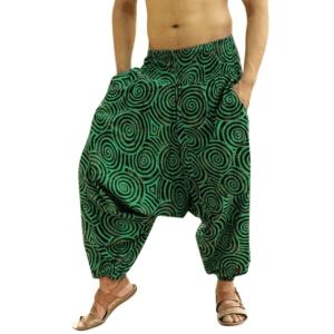 Pantalon ethnique ample vert boho