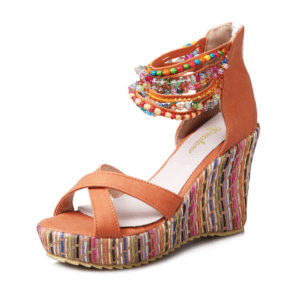 Sandale ethnique orange chic