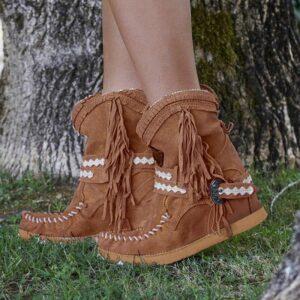 Botte ethnique amérindien marron chic