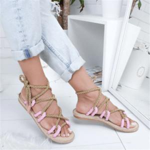 Sandale ethnique lacet rose boho