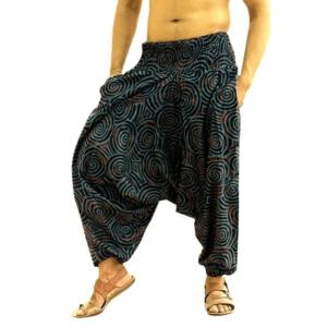 Pantalon ethnique ample navy chic