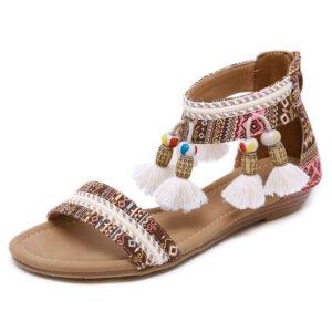 Sandale ethnique pompon