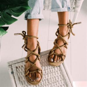 Sandale ethnique lacet classique boheme