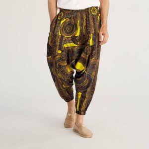 Pantalon ethnique style jaune boheme