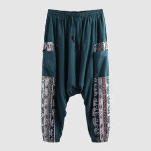 Pantalon ethnique tribal turquoise boheme